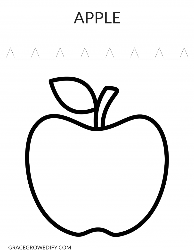 Apple Coloring Sheet - Grace Grow & Edify
