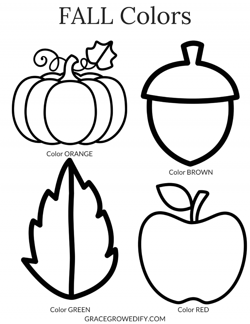 FALL Colors Coloring Sheet - Grace Grow & Edify