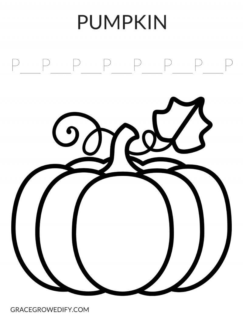 Pumpkin Coloring Sheet Grace Grow Edify