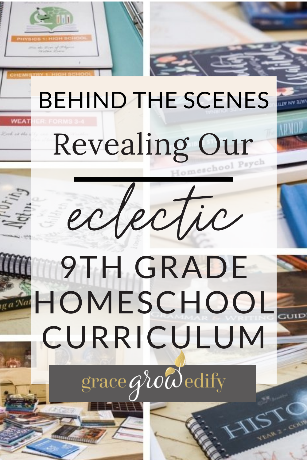 Check out our unique blend of homeschool curriculum for 9th grade! #homeschool #9thgrade #homeschoolcurriculum #highschool #homeschoolhighschool