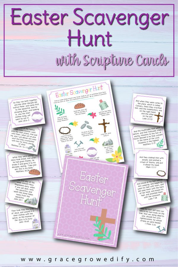 Easter Scavenger Hunt with Scripture Cards for Kids #easter #easteractivities #easterfun #homeschool #christianfamily