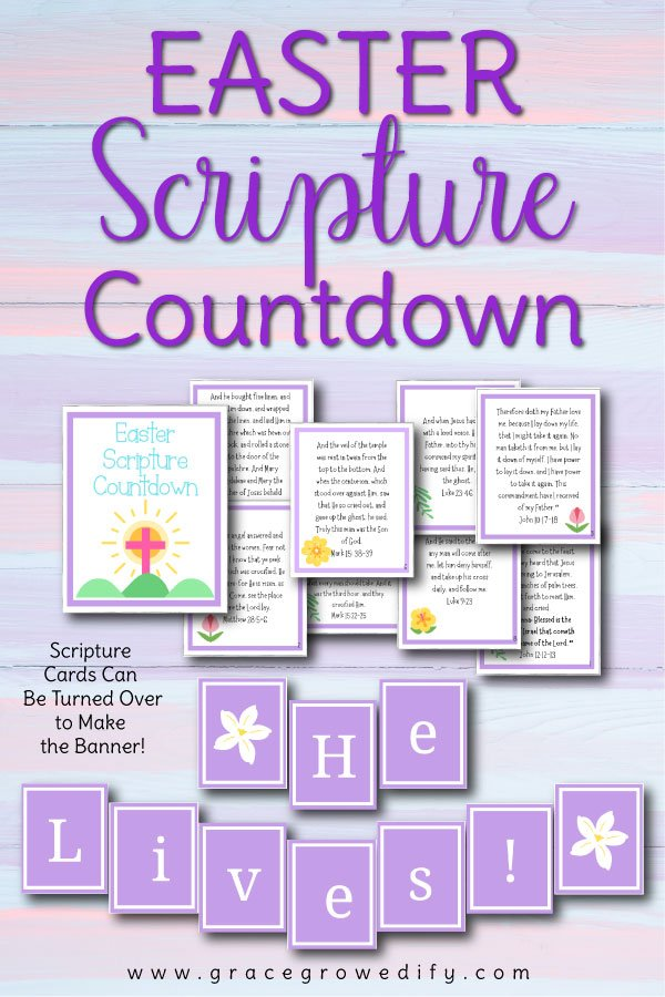 Your kids will love flipping the scripture cards each day of Holy Week to make an adorable Easter Sunday decoration! #easter #banner #scriptureforkids #christianfamily #holyweek