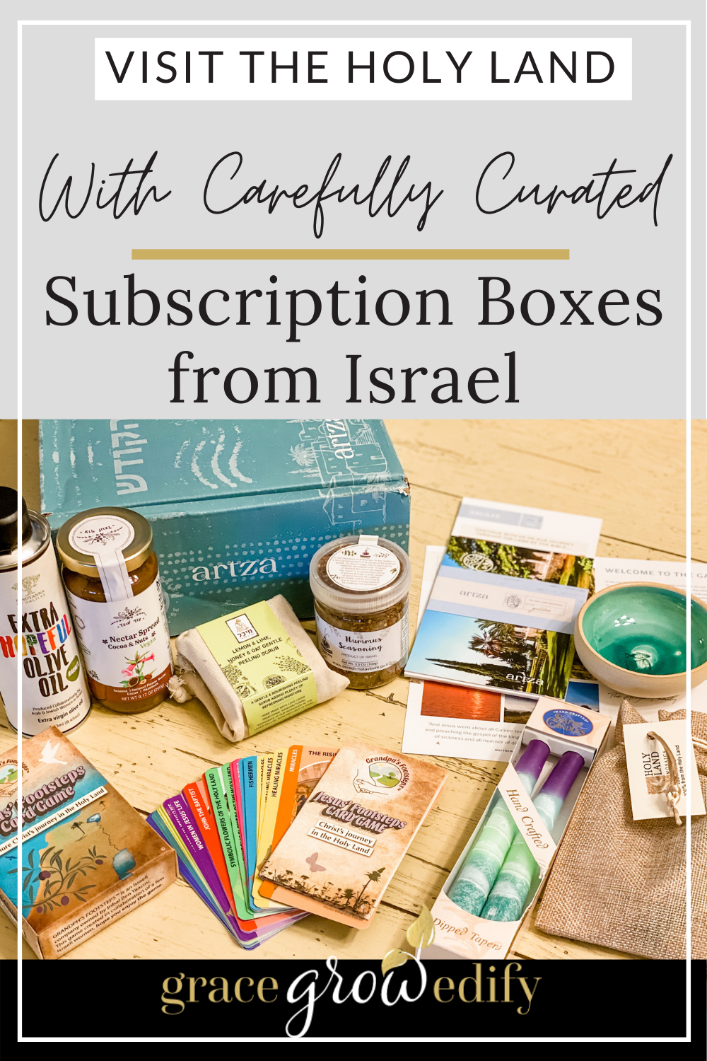 Are you ready to take a virtual trip to Israel? Immerse yourself in rich culture & history with an Israel subscription box from Artza! #artza #artzabox #israel #giftideas #subscriptionboxes